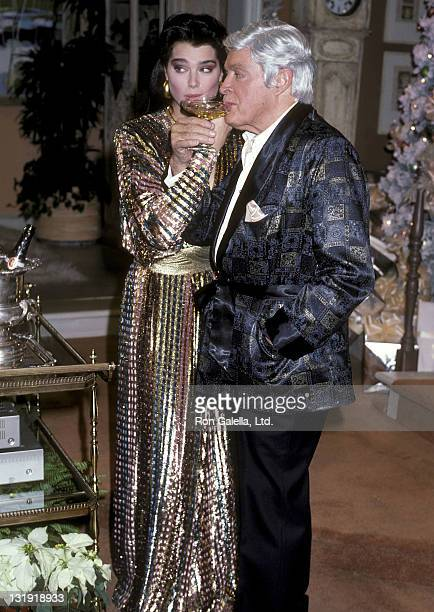 Actress Brooke Shields and entertainer Bob Hope attend the Taping of the NBC Television Special 'Bob Hope's Bagful of Christmas Cheer' on November 30...