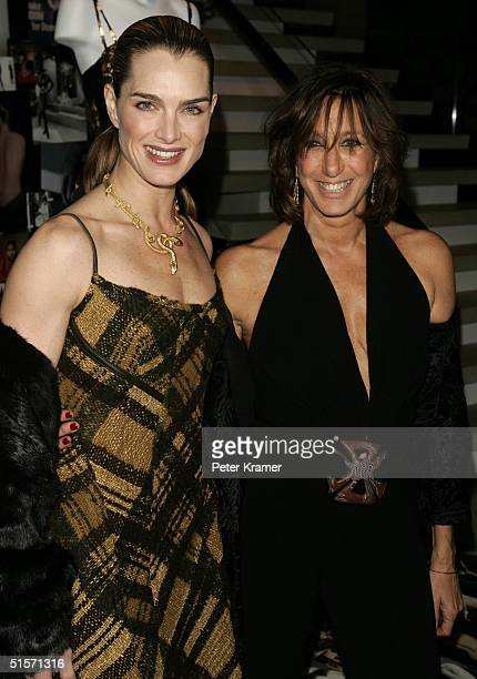 Actress Brooke Shields and fashion designer Donna Karan attend the celebration of 20 years of the Donna Karan brand on October 25 2004 in New York...