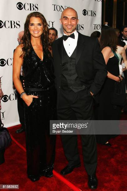 Actress Brooke Shields and guest arrive at the 62nd Annual Tony Awards held at Radio City Music Hall on June 15 2008 in New York City