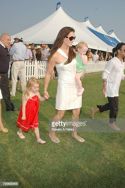 Actress Brooke Shields and her children attend The MercedesBenz Polo Challenge at JetOneJets Field August 4 2007 in Bridgehampton New York