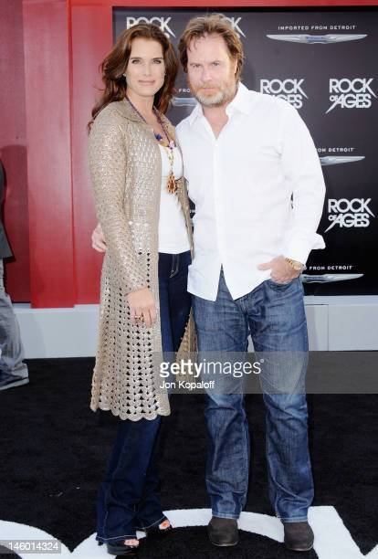 """Actress Brooke Shields and husband Chris Henchy arrive at the Los Angeles Premiere """"Rock Of Ages"""" at Grauman's Chinese Theatre on June 8, 2012 in..."""