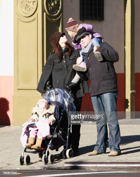 Actress Brooke Shields and husband Chris Henchy spending quality time with their daughters Rowan and Grier in SOHO on November 24 2007 in New York...
