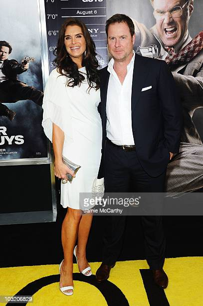 """Actress Brooke Shields and writer Chris Henchy attend the premiere of """"The Other Guys"""" at the Ziegfeld Theatre on August 2, 2010 in New York City."""