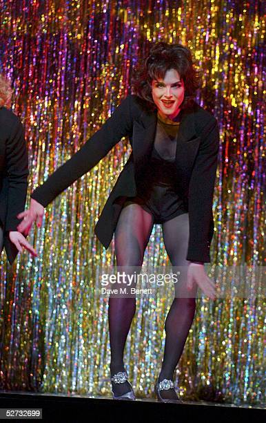 Actress Brooke Shields appears on stage for her first night playing Roxie Hart in the west end show Chicago The Muscial at the Adelphi Theatre on...