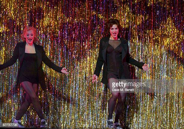 Actress Brooke Shields appears on stage for her first night playing Roxie Hart with actress Anna Montanaro in the west end show Chicago The Muscial...