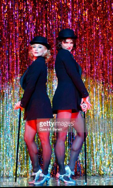 "Actress Brooke Shields appears on stage for her first night playing Roxie Hart with actress Anna Montanaro in the west end show ""Chicago - The..."