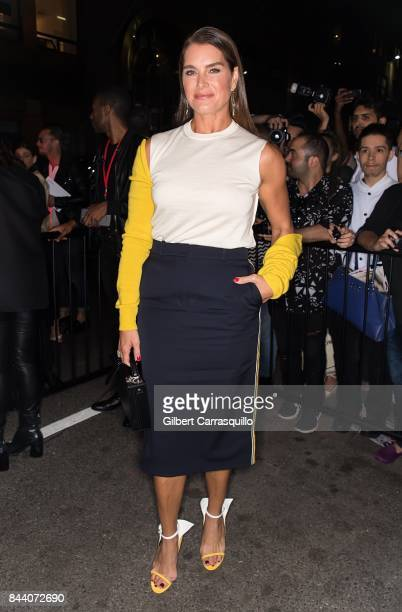 Actress Brooke Shields arrives at Calvin Klein Collection fashion show during New York Fashion Week on September 7, 2017 in New York City.