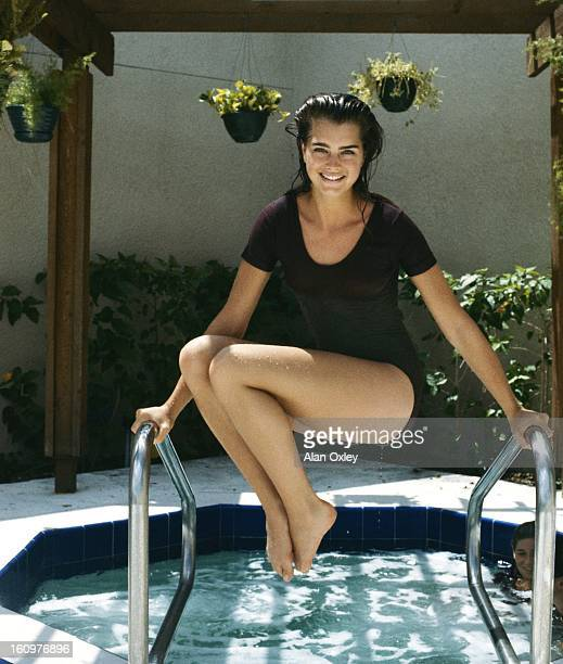 Actress Brooke Shields at age 18 in a health spa while on a Florida vacation in July 1983