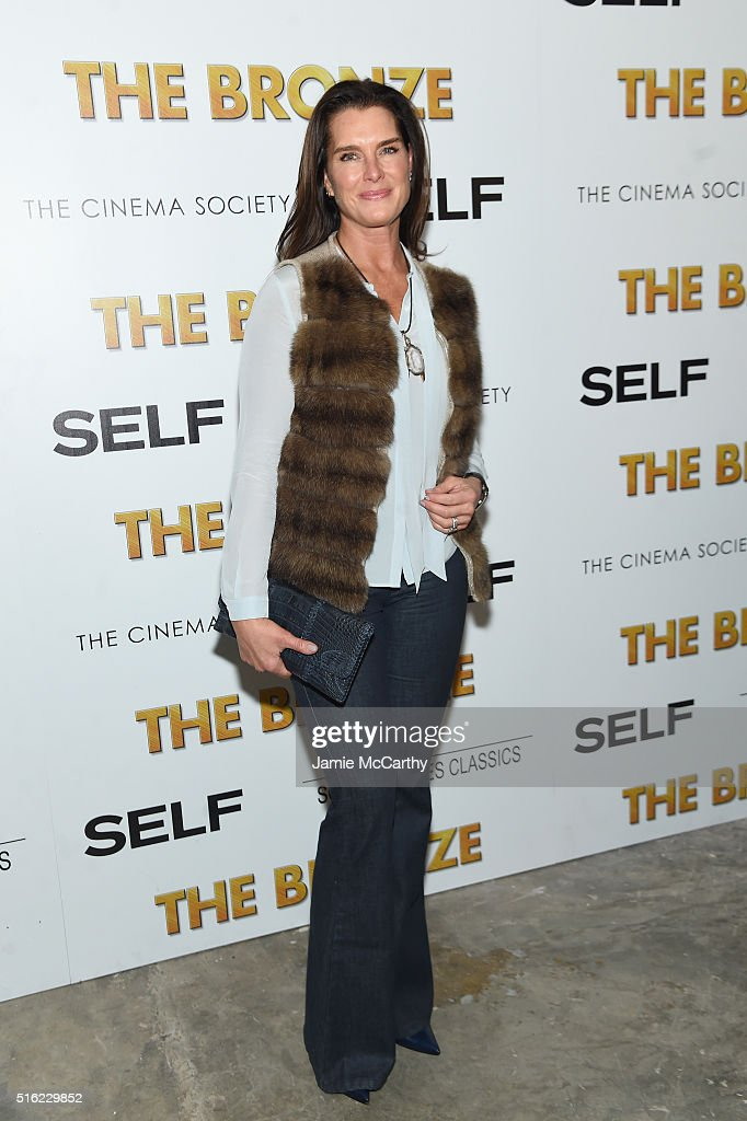 Actress Brooke Shields attends a screening of Sony Pictures Classics' 'The Bronze' hosted by Cinema Society & SELF at Metrograph on March 17, 2016 in New York City.