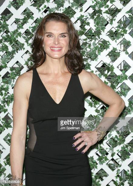 Actress Brooke Shields attends the after party to celebrate the new cast of The Addams Family at the Empire Hotel Rooftop on July 7 2011 in New York...