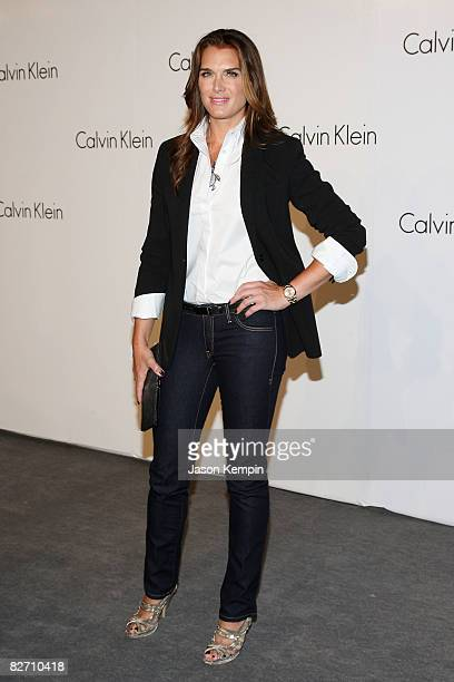 Actress Brooke Shields attends the Calvin Klein 40th Anniversary during Mercedes-Benz Fashion Week at The High Line on September 7, 2008 in New York...