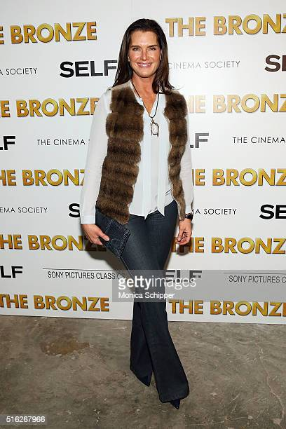 Actress Brooke Shields attends The Cinema Society SELF host a screening of Sony Pictures Classics' The Bronze at Metrograph on March 17 2016 in New...