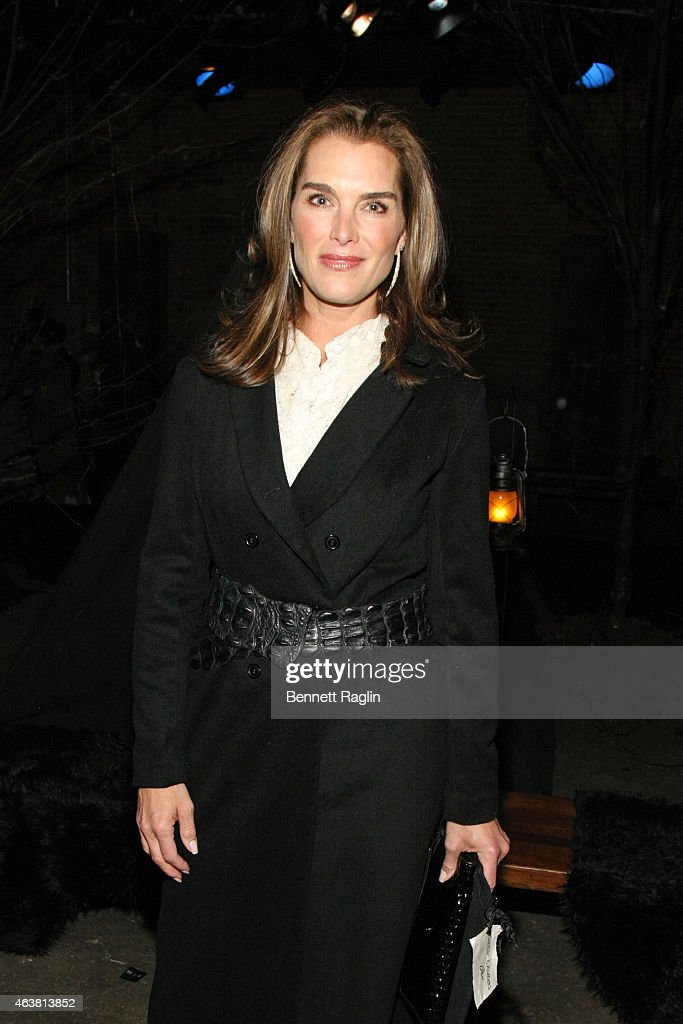 Actress Brooke Shields attends the Greg Lauren fashion show during Mercedes-Benz Fashion Week Fall 2015 at ArtBeam on February 18, 2015 in New York City.