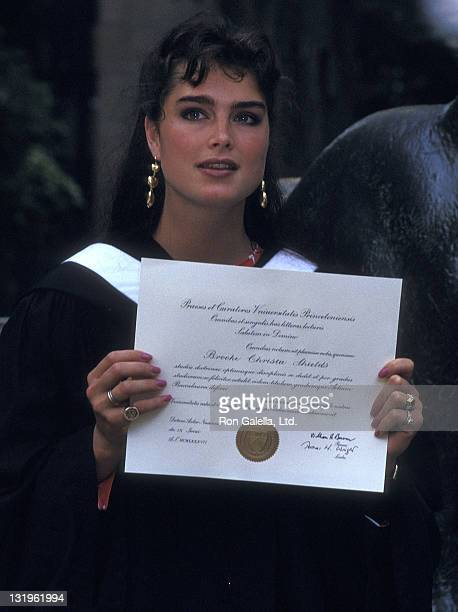 Actress Brooke Shields attends the Princeton University Class of 1987 Graduation Ceremony on June 9 1987 at Princeton University in Princeton New...