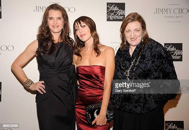 Actress Brooke Shields founder president Jimmy Choo Tamara Mellon and editorinchief Harper's Bazaar Glenda Bailey attend the Choo 247 By Jimmy Choo...