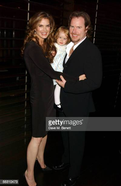 Actress Brooke Shields, her daughter Rowan and husband, writer Chris Henchy attend Shields's 40th birthday celebration at the Mint Leaf restaurant in...