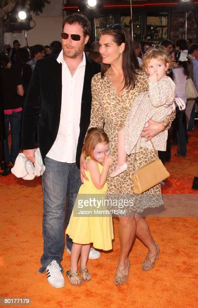 Actress Brooke Shields husband Chris Henchy and daughter's Rowan and Grier arrive at Dr Seuss' Horton Hears A Who premiere at The Mann Village on...