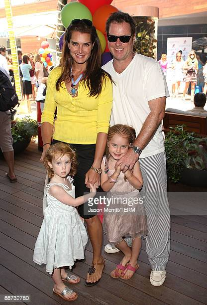 Actress Brooke Shields husband Chris Henchy and daughter's Rowan Henchy and Grier Henchy attend the EB Medical Research Foundation picnic presented...