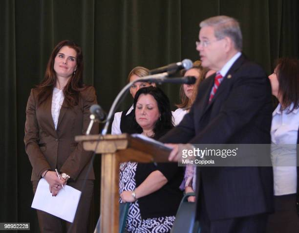 Actress Brooke Shields looks on as US Sen Robert Menendez speaks at the celebration of the MOTHERS act legislation on postpartum depression which was...