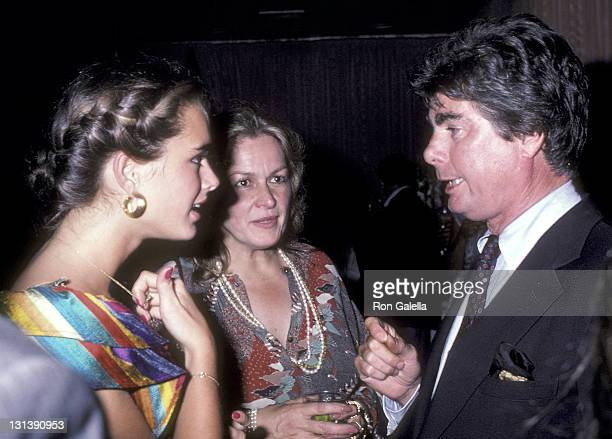 """Actress Brooke Shields, mother Teri Shields and columnist James Brady attend the """"Endless Love"""" Premiere Party on July 16, 1981 at Hisae Restaurant..."""
