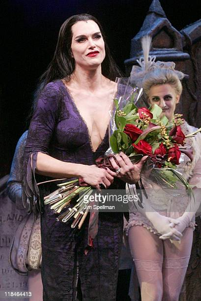 Actress Brooke Shields Performs on stage during The Addams Family at the LuntFontanne Theatre on July 7 2011 in New York City
