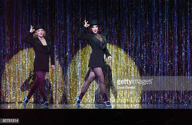 Actress Brooke Shields performs on stage for her first night playing Roxie Hart with actress Anna Montanaro in the west end show Chicago The Muscial...