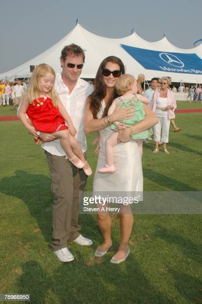 Actress Brooke Shields, producer Chris Henchy and their children attend The Mercedes-Benz Polo Challenge at JetOneJets Field August 4, 2007 in...