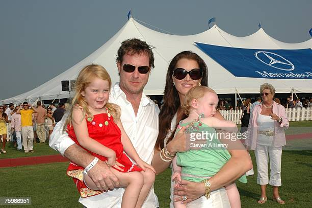 Actress Brooke Shields producer Chris Henchy and their children attend The MercedesBenz Polo Challenge at JetOneJets Field August 4 2007 in...