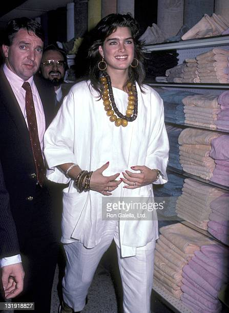 """Actress Brooke Shields promotes and autographs copies of her autobiography """"On Your Own"""" on June 17, 1985 at the Caldor Department Store in Yonkers,..."""