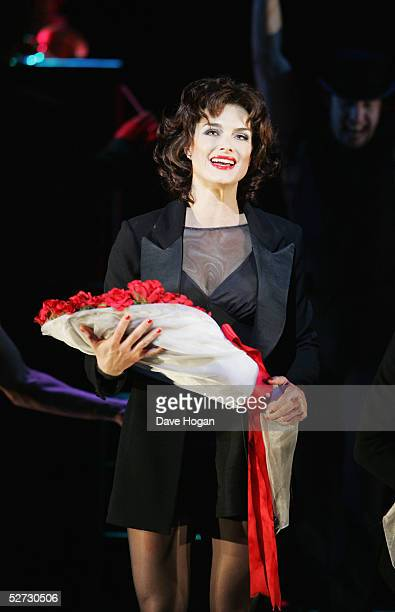 "Actress Brooke Shields receives flowers on stage for her first night playing Roxie Hart in the west end show ""Chicago - The Muscial"" at the Adelphi..."