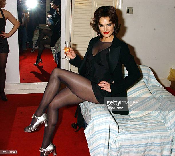 """Actress Brooke Shields sits backstage following the first night she performed as Roxie Hart in the west end show """"Chicago - The Muscial"""" at the..."""