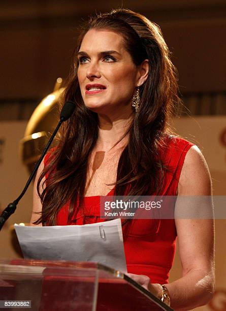 Actress Brooke Shields soeaks during the 66th Annual Golden Globes nomination announcements held at the Beverly Hilton on December11 2008 in Beverly...