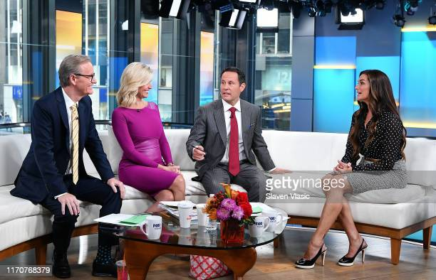 Actress Brooke Shields talks to FOX Friends cohosts Steve Doocy Ainsley Earhardt and Brian Kilmeade during FOX Friends at Fox News Channel Studios on...