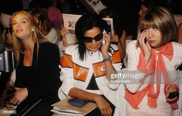 Actress Brooke Shields talks to the press while Candy Pratts Price Executive Fashion Director Stylecom and Anna Wintour Vogue's Editor in Chief talk...