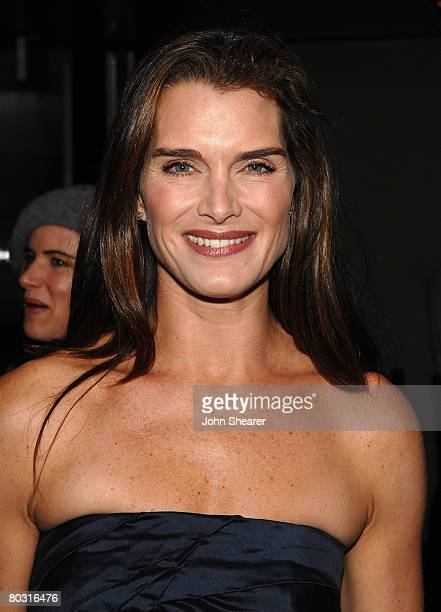 Actress Brooke Shields wearing Miu Miu attends the Los Angeles screening of Trembled Blossoms presented by Prada on March 19 2008 in Beverly Hills...