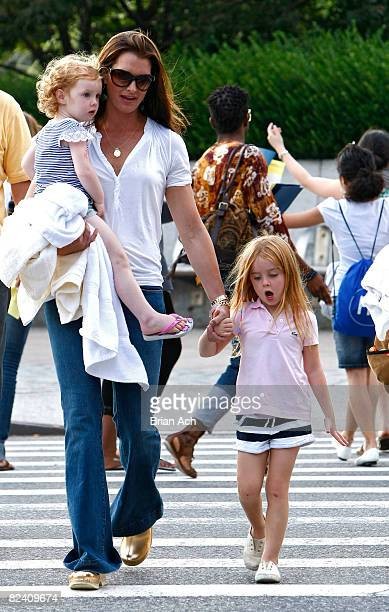 Actress Brooke Shields with her children Grier Shields and Rowan Shields on the streets of Manhattan on August 18 2008 in New York City