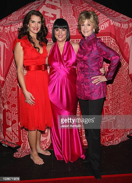 Actress Brooke Shields writer Eve Ensler and actress Jane Fonda attend VDay's V to the Tenth NYC Kickoff to New Orleans at Hammerstein Ballroom on...
