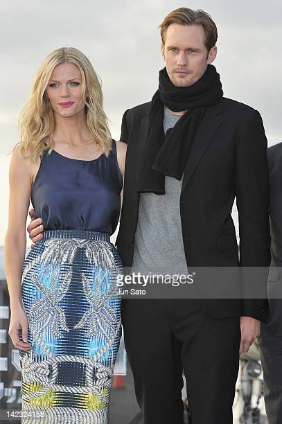 Actress Brooklyn Decker and actor Alexander Skarsgard attend the 'Battleship' Press Conference on the USS George Washington at US Fleet Activities...