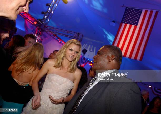 Actress Brooklyn Decker and Colonel Gregory D Gadson pose at the after party for the premiere of Universal Pictures' Battleship at LA Live on May 10...