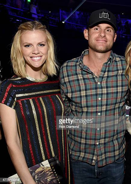 Actress Brooklyn Decker and pro tennis player Andy Roddick pose backstage during the 2015 iHeartRadio Country Festival at The Frank Erwin Center on...