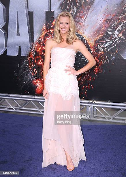 Actress Brooklyn Decker arrives at the Los Angeles premiere of Battleship at the Nokia Theatre LA Live on May 10 2012 in Los Angeles California