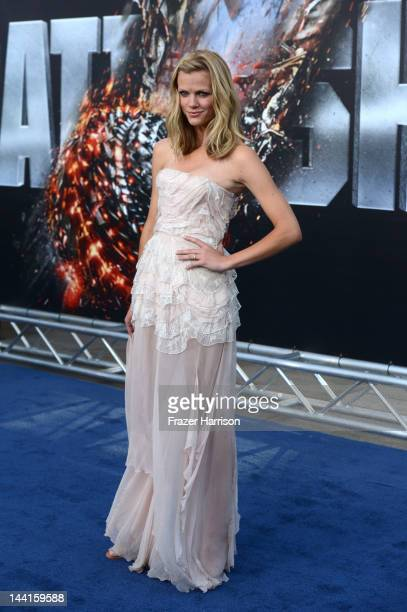 Actress Brooklyn Decker arrives at the Premiere Of Universal Pictures' Battleship at The Nokia Theatre LA Live on May 10 2012 in Los Angeles...