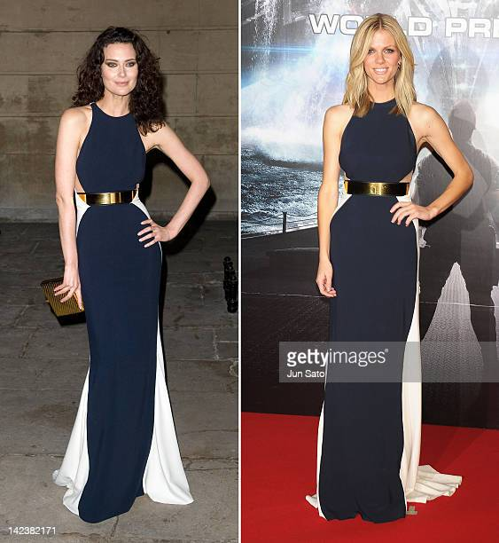 In this composite image a comparison has been made between Shalom Harlow and Brooklyn Decker for a Celebrity Same Dresses feature Shalom Harlow...