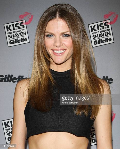 Actress Brooklyn Decker attends The world's largest shave kiss event with Gillette at Time Warner Center on February 14 2013 in New York City