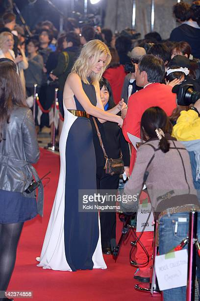 Actress Brooklyn Decker is inteviewed the 'Battleship' Japan Premiere at International Yoyogi first gymnasium on April 3 2012 in Tokyo Japan