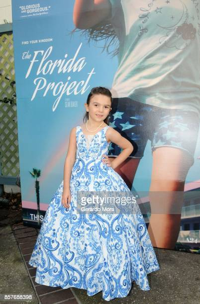 Actress Brooklynn Prince poses during 'THE FLORIDA PROJECT' Cast Crew Orlando Premiere at The Enzian Theater on October 4 2017 in Maitland Florida
