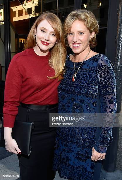 Actress Bryce Dallas Howard and Amy Redford attend the Sundance Institute NIGHT BEFORE NEXT Benefit at The Theatre at The Ace Hotel on August 11 2016...
