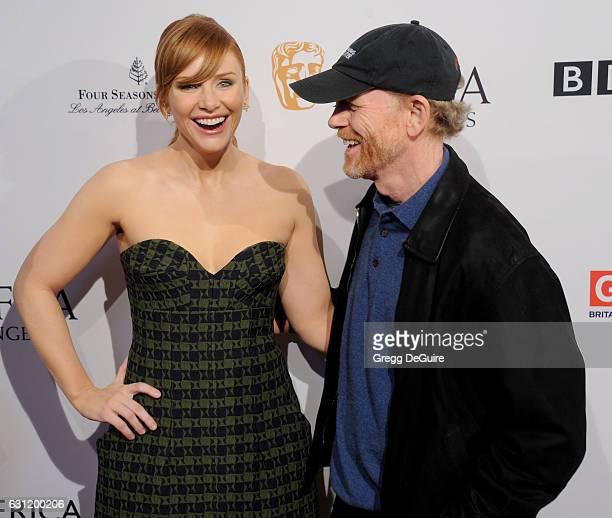 Actress Bryce Dallas Howard and dad Ron Howard arrive at The BAFTA Tea Party at Four Seasons Hotel Los Angeles at Beverly Hills on January 7 2017 in...