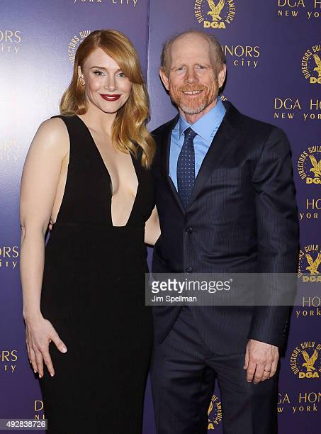 Actress Bryce Dallas Howard and director Ron Howard attend the DGA Honors Gala 2015 at the DGA Theater on October 15 2015 in New York City
