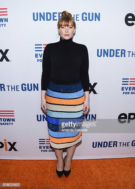 Actress Bryce Dallas Howard arrives at the premiere of EPIX's Under The Gun at the Samuel Goldwyn Theater on May 3 2016 in Beverly Hills California